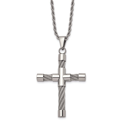 QG Polished STAINLESS STEEL & WIRE CROSS Necklace