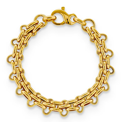 QG Sterling Silver Panther yellow gold plated 7.5 bracelet