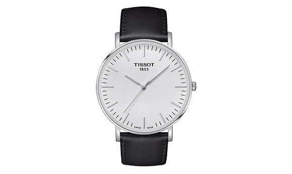 TISSOT EVERYTIME LARGE MEN'S WATCH Silver Dial Black Leather Strap