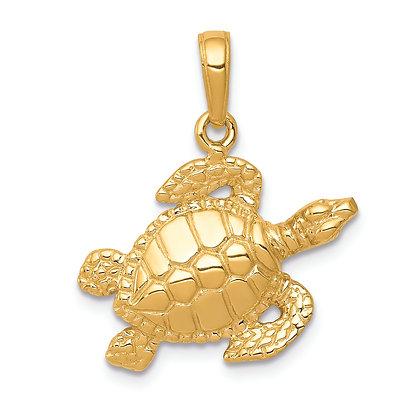 QG 14k Yellow Gold Sea Turtle Pendant