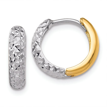 QG 14K Yellow and White Gold DIAMOND CUT HOOP Earrings