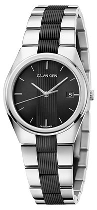 CALVIN KLEIN Ladies Watch CONTRAST Stainless steel Black Line