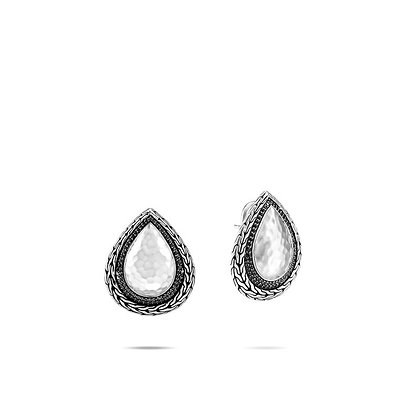 JOHN HARDY Classic Chain Hammered Earring, Black Sapphire, Spinel