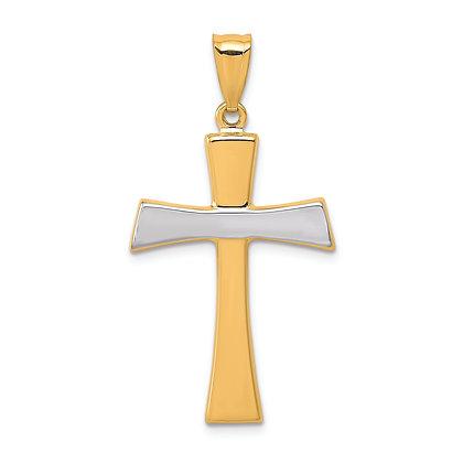 QG 14k Yellow and rhodium white gold polished Cross Pendant