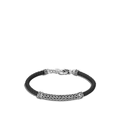 JOHN HARDY Classic Chain Station Black Woven Leather Bracelet S