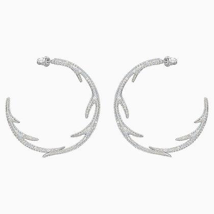 SWAROVSKI Polar Bestiary Hoop Pierced Earrings, Multi-coloured, Rhodium plated