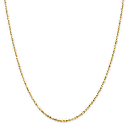 QG 14K Yellow Gold 1.50mm D/C ROPE LOBSTER CLASP CHAIN