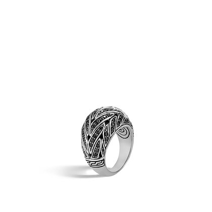 JOHN HARDY Women'S Classic Chain Silver 15mm Dome Ringw/ Blk Sapp & Spinel Sz 6