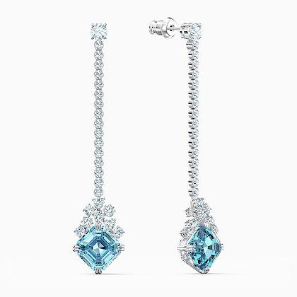 SWAROVSKI  Sparkling Linear Pierced Earrings, Aqua, Rhodium plated