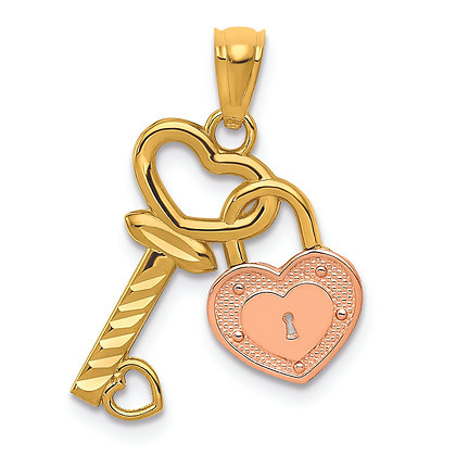 QG 14K Yellow and Rose gold HEART LOCK & KEY PENDANT