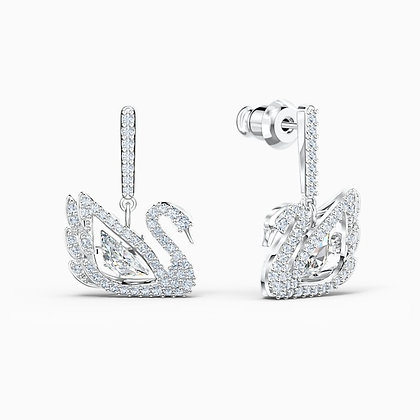 SWAROVSKI  Dancing Swan Pierced Earrings, White, Rhodium plated