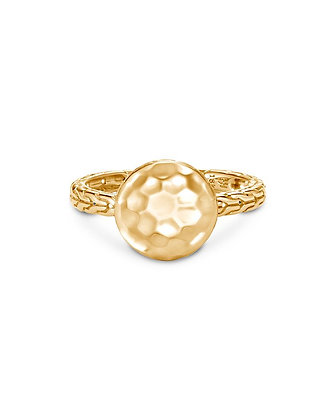 JOHN HARDY Dot Hammered Ring in 18k Yellow Gold SZ 7