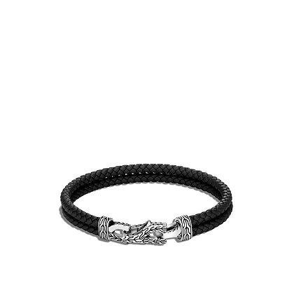 JOHN HARDY Asli Classic Chain Link Station Bracelet Black Leather L 8mm
