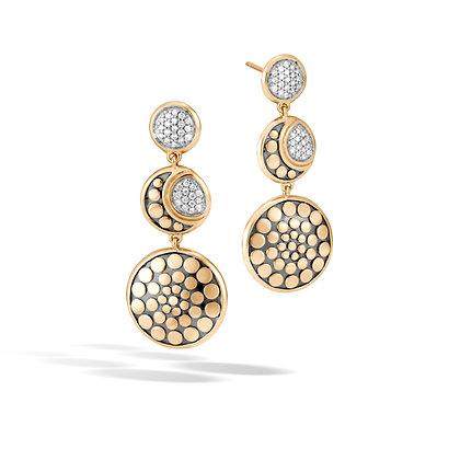JOHN HARDY Dot 18K Gold Diamond Pave 0.27Ct Triple Drop Earrings