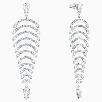 SWAROVSKI Polar Bestiary Chandelier Pierced Earrings, White, Rhodium plated