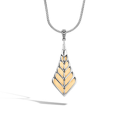 JOHN HARDY Modern Chain 18K Gold & Silver Pendant On Foxtail Chain Necklace