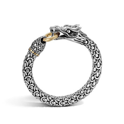 JOHN HARDY Naga Station Bracelet with 18k Yellow Gold Ring and Dots S 10mm