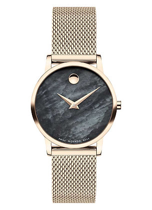 MOVADO Women's Museum Round Analog Black Mother Of Pearl Dial