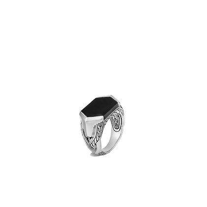 JOHN HARDY Asli Classic Chain Signet Ring with Black Onyx SZ 11