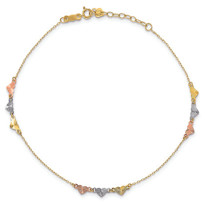QG 14K Yellow/ White/ Rose Gold ADJUSTABLE HEART ANKLET