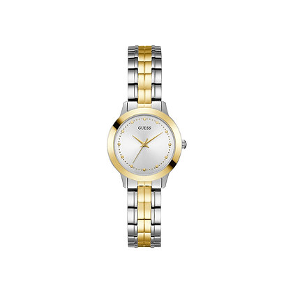GUESS CHELSEA WOMEN'S DRESS WATCH Silver Dial 2 Tone Gold Plated Stainless Steel