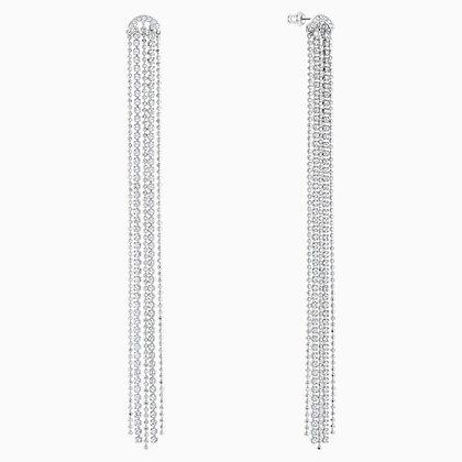 SWAROVSKI Fit Pierced Tassell Earrings, White, Rhodium plated