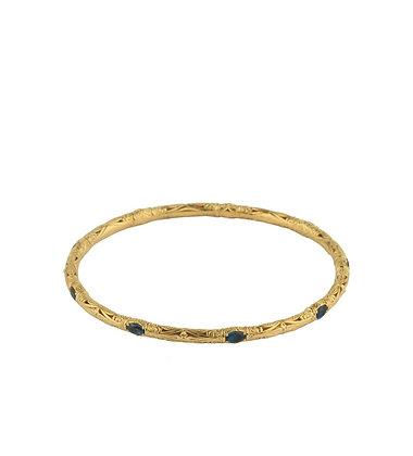 Konstantino London Blue Topaz Bangle 18k Yellow Gold