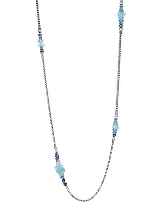JOHN HARDY Classic Chain Station Necklace With Aquamarine & Kyanite SZ 36