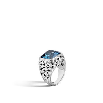 JOHN HARDY Classic Chain Silver Magic Cut Ring 14X14 Lbt Sz 7