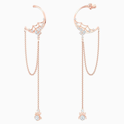 SWAROVSKI Precisely Hoop Pierced Earrings, White, Rose-gold tone plated