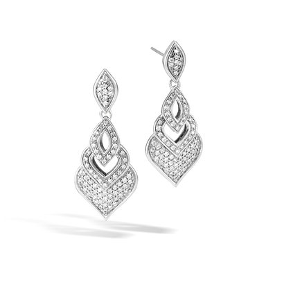 JOHN HARDY Legends Naga Sil Diamond Pave 0.64Ct Drop Earrings