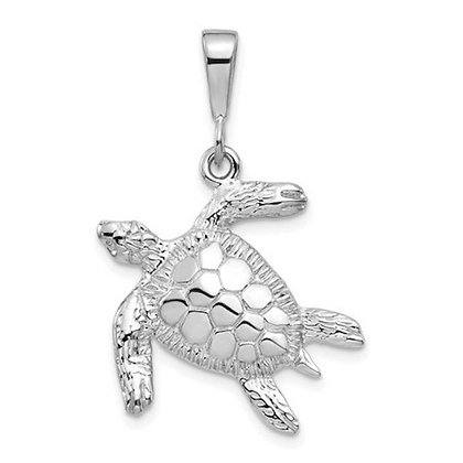 QG 14k White Gold Solid Polished Open-Backed Sea Turtle Pendant