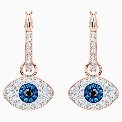 SWAROVSKI Symbolic Evil Eye Hoop Pierced Earrings, Blue, Rose-gold tone