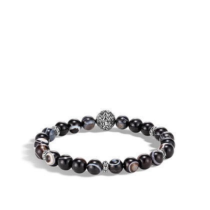 JOHN HARDY Bead Bracelet with Banded Agate M 8mm