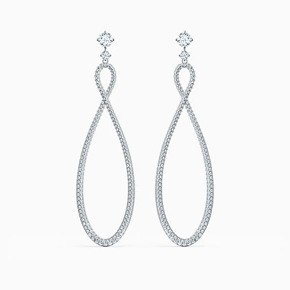 SWAROVSKI infinity Hoop Pierced Earrings, White, Rhodium plated