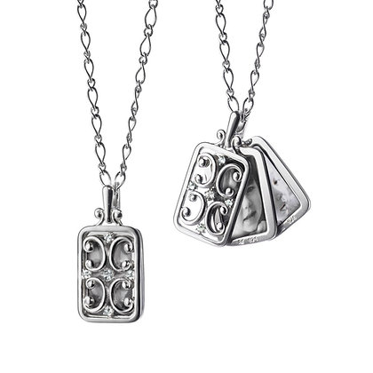 MONICA RICH KOSANN RECTANGULAR GATE LOCKET WITH SAPPHIRES
