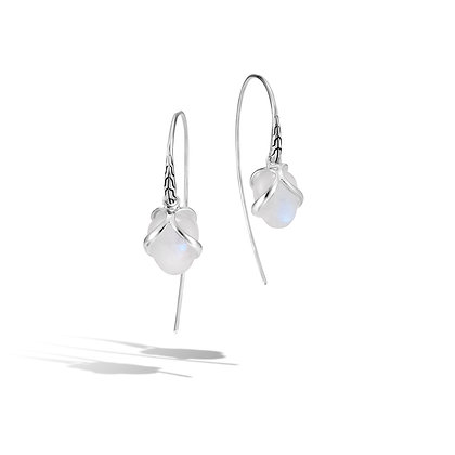 JOHN HARDY Classic Chain Silver Drop Earr On French Wire Milky Rainbow Moonstone
