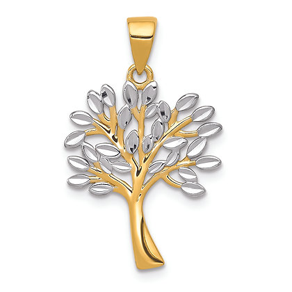 QG 14K Yellow Gold/ White RHODIUM DIAMOND-CUT TREE PENDANT