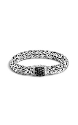JOHN HARDY Classic Chain Lava Large Bracelet with Black Sapphire, Size M 10.5mm