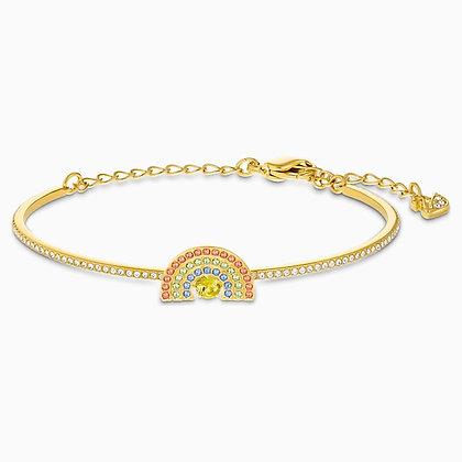 SWAROVSKI  Sparkling Dance Rainbow Bangle, Light multi-coloured, Gold-tone