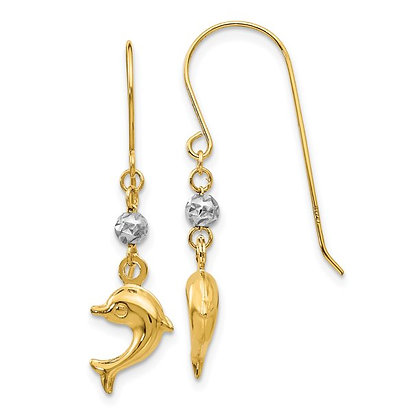 QG 14K Two Toned Puffed Dolphin Shepherd Hook Earrings