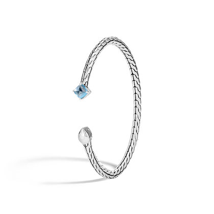 JOHN HARDY Classic Chain Hammered Silver Flex Cuff With 6X6mm Swiss Blue Topaz