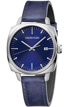 CALVIN KLEIN Watch Swing Stainless steel/ Blue Leather Strap