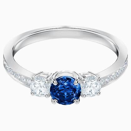 SWAROVSKI Attract Trilogy Round Ring, Blue, Rhodium Size 5,6,7, 8 and 9