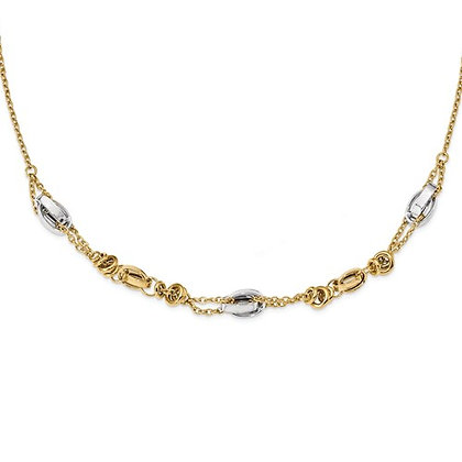 QG 14k Two-Tone Polished Fancy Necklace