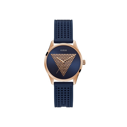 GUESS MiNi iMPRiNT WOMEN'S WATCH Blue and Rose Gold Dial Blue Silicone Strap