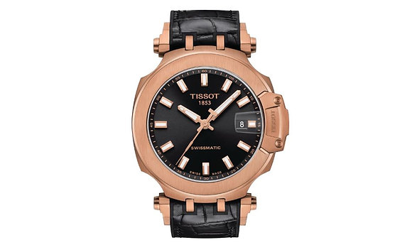 TISSOT T-RACE SWISSMATIC MEN'S Black Dial Rose Gold Case Black Rubber Strap