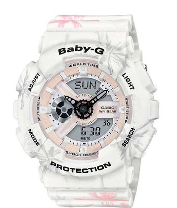 CASIO BABY-G Tandem Series in white and pink floral