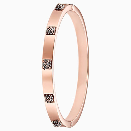 SWAROVSKI Tactic Bangle, Black, Rose-gold tone plated Size M/S.