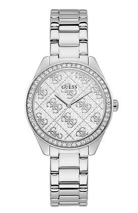 GUESS SUGAR WOMEN'S WATCH Silver Glitz Logo Pattern Dial